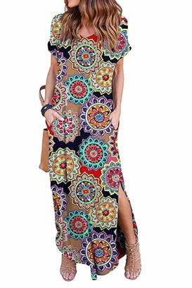 Zilcremo Women Casual Maxi Dresses Summer Tie Dye/Floral Loose Long Boho Dress with Pockets Multifloral M