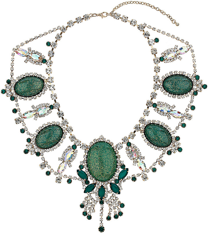 Topshop Premium Emerald and Crystal Collar