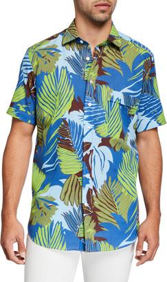 Etro Men's Palm Frond Linen Hawaiian Shirt