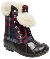 Stevies Girls' #SNOWBALL Tall Fur Top Duck Rain Boots - Black