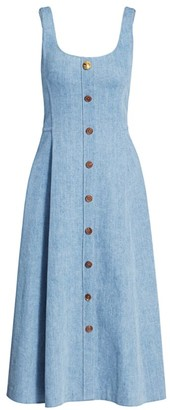 Adam Lippes Scoopneck Chambray Button-Front Midi Dress