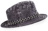 Philip Treacy Printed Velour Trilby Hat w/ Jewel Band