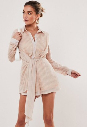 Missguided Striped Drape Front Playsuit