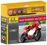 Heller Maquette plastique a assembler d'une moto au 1/24eme : la Ducati Desmosedici Troy Bayliss. 31 pieces. Dimensions de la maquette montée : 8, 5 x 4, 8 cm. Peintures, colle et pinceau fournis - Garçon et Fille - 14 ans et plus - Livré a l'unité