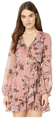 Bardot Frill Floral Dress (Soft Pink Floral) Women's Clothing