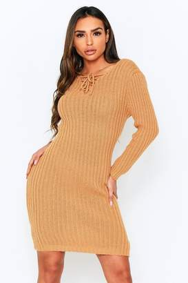 boohoo Knitted Tie Front Midi Dress