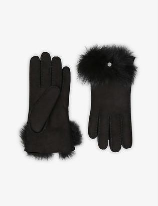 UGG Bow-detail turned-up sheepskin gloves