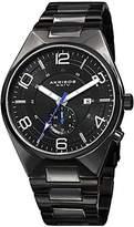 Akribos XXIV Men's AK849BK Round Black Dial Three-Hand Quartz Stainless Steel Bracelet Watch