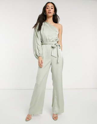 Pretty Lavish one shoulder volume sleeve jumpsuit in pistachio