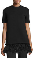 Michael Kors Short-Sleeve Sweater w/Ostrich Feathers, Black