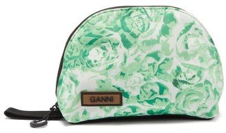 Ganni Floral-print Small Washbag - Green