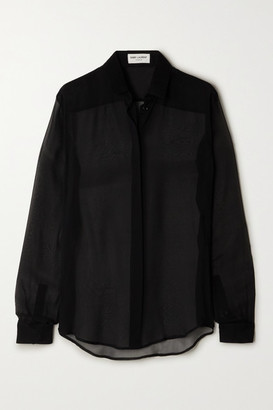 Saint Laurent Silk-chiffon Shirt - Black