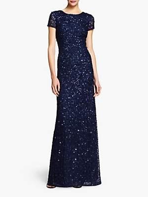 Adrianna Papell Scoop Back Sequin Evening Dress, Navy