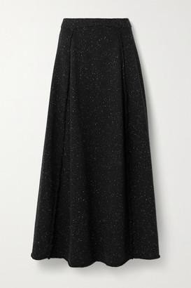 The Row Arlette Melange Wool Maxi Skirt - Black