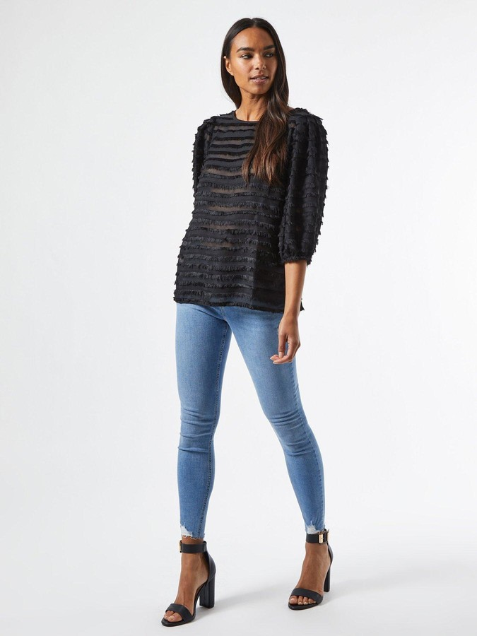 Thumbnail for your product : Dorothy Perkins 3D Textured Tassel Top - Black