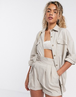 ASOS DESIGN tailored suit shacket in camel texture