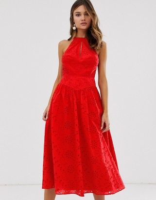 Asos Design DESIGN premium broderie midi skater prom dress-Red