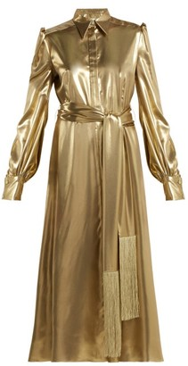 Hillier Bartley Belted Metallic Silk-satin Dress - Gold