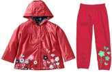 Mingao Girls Clothes Set Flower Waterproof Outdoors Raincoat with Pants 2-3 Year