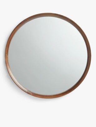 John Lewis & Partners Astrid Round Mirror, Walnut Wood, 64cm