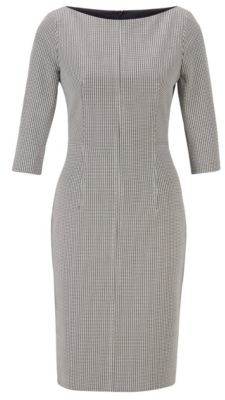 HUGO BOSS Slim-fit dress in patterned stretch fabric