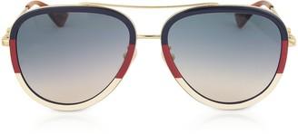 Gucci GG0062S Aviator Gold Metal Sunglasses