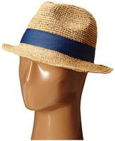 Hat Attack Raffia Crochet Short Brim with Bi Color Trim