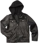 Urban Republic Black Faux Leather Pocket-Front Hooded Jacket - Boys