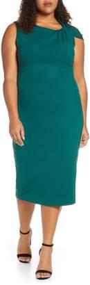 ELOQUII Twisted Shoulder Sheath Dress