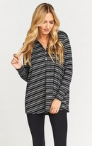 MUMU Hibernate Henley ~ Shadow Stripe Rib Night & Grey