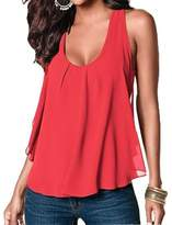 Amstt Women Crewneck Sleeveless Chiffon Casual Loose Tank Top Shirt (XXXL, )