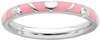 Simply Stacks Sterling Enamel Hearts & Stripes Band Ring
