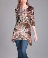 Lily Brown Medallion Sidetail Tunic - Plus Too