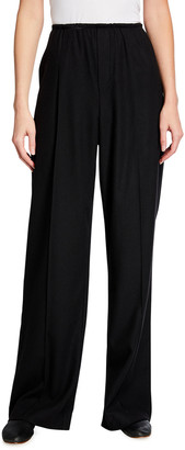 Vince Flannel Wide-Leg Pull-On Pants