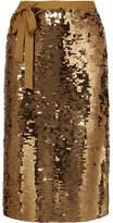 J.Crew - Yams Grosgrain-trimmed Sequined Crepe Skirt - Gold