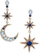 Betsey Johnson Gold-Tone Moon & Stars Stone Mismatch Earrings