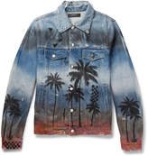 Amiri - Slim-fit Distressed Printed Denim Jacket