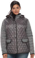 Gallery Plus Size Quilted Mixed-Media Jacket