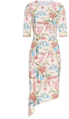 Peter Pilotto Asymmetrical floral cady midi dress
