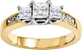 MODERN BRIDE 2 CT. T.W. Diamond 14K Two-Tone Gold 3-Stone Engagement Ring