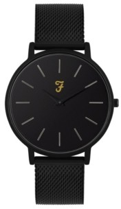 Farah Men's the Slim Jim Collection Black Stainless Steel Bracelet Watch 42mm
