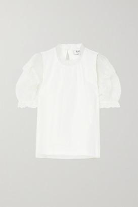 Sea Nuria Cotton-jersey And Ruffled Silk-chiffon Blouse - White