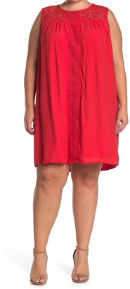 Sharagano Lace Trim Sleeveless Shift Dress (Plus Size)