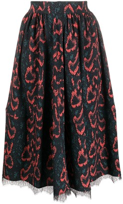 Calvin Klein snakeskin-print midi skirt
