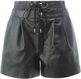 Saint Laurent drawstring shorts - women - Silk/Lamb Skin - 38