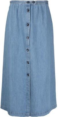 A.P.C. High-Waisted Button Skirt
