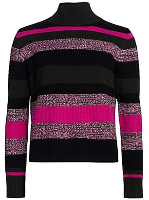 Akris Punto Striped Wool Cashmere Turtleneck Knit Sweater