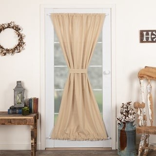 VHC Brands Farmhouse Curtains VHC Cotton Burlap Door Panel Rod Pocket Solid Color - Door Panel 72x40 - Door Panel 72x40
