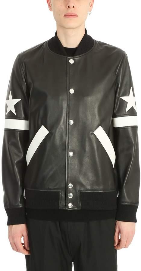 Givenchy Black Leather Bomber Jacket