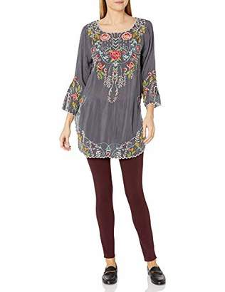 Johnny Was Women's 3/4 Sleeve Contrast Embroidered Tunic